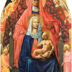100% Hand Painted Oil on Canvas - St. Anna, Mary with child and five angels  by Masaccio