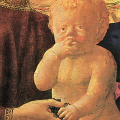 100% Hand Painted Oil on Canvas - St. Anne, Central table - The Virgin and Child, detail of the child by Masaccio