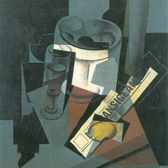 100% Hand Painted Oil on Canvas - Still Life with Newspaper by Juan Gris