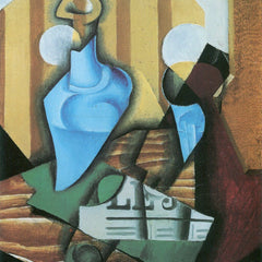 100% Hand Painted Oil on Canvas - Still Life with bottle and glass by Juan Gris