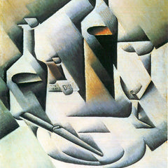 100% Hand Painted Oil on Canvas - Still Life with bottles and knives by Juan Gris