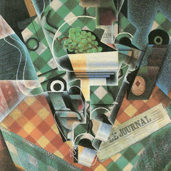 100% Hand Painted Oil on Canvas - Still Life with checked tablecloth by Juan Gris