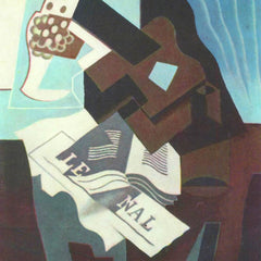 100% Hand Painted Oil on Canvas - Still Life with guitar, book and newspaper  by Juan Gris
