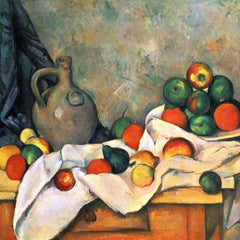The Museum Outlet - Still life, drapery, pitcher and fruit bowl by Cezanne