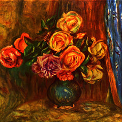 100% Hand Painted Oil on Canvas - Still life roses before a blue curtain by Renoir