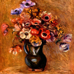 100% Hand Painted Oil on Canvas - Still life with anemones by Renoir