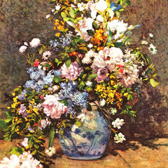 100% Hand Painted Oil on Canvas - Still life with large vase by Renoir