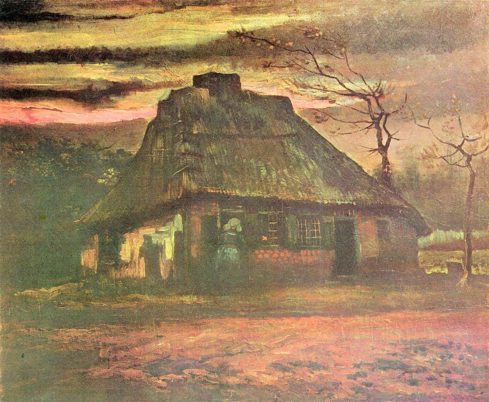 The Museum Outlet - Straw hut at dusk by Van Gogh