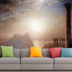 Roshni Arts - Curated Art Wall Mural - Syria on the sea by Frederick Edwin Church | Self-Adhesive Vinyl Furnishings Decor Wall Art