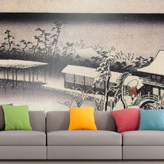 Roshni Arts - Curated Art Wall Mural - Temple complex in the snow by Hiroshige | Self-Adhesive Vinyl Furnishings Decor Wall Art