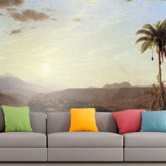 Roshni Arts - Curated Art Wall Mural - The Cordilleras - Sunrise by Frederick Edwin Church | Self-Adhesive Vinyl Furnishings Decor Wall Art
