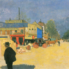 100% Hand Painted Oil on Canvas - The Place Clichy in Paris by Felix Vallotton