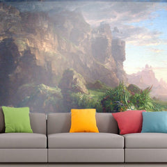 Roshni Arts - Curated Art Wall Mural - The Voyage of Life - Childhood by Thomas Cole | Self-Adhesive Vinyl Furnishings Decor Wall Art