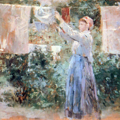 100% Hand Painted Oil on Canvas - The farmer hanging laundry by Morisot