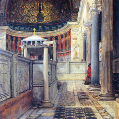 The Museum Outlet - The interior of the church of San Clemente, Rome by Alma-Tadema