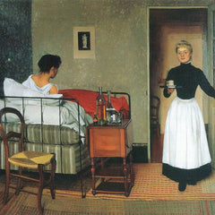 100% Hand Painted Oil on Canvas - The sick by Felix Vallotton