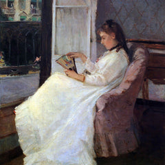 100% Hand Painted Oil on Canvas - The sister of the artist at a window by Morisot