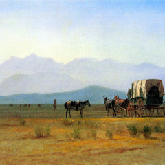 The Museum Outlet - The stagecoach in the Rockies by Bierstadt