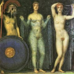 100% Hand Painted Oil on Canvas - The three Goddesses Athena, Hera and Aphrodite by Franz von Stuck