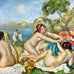 100% Hand Painted Oil on Canvas - Three bathing girls with crab by Renoir