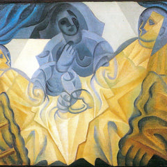 100% Hand Painted Oil on Canvas - Three masks by Juan Gris