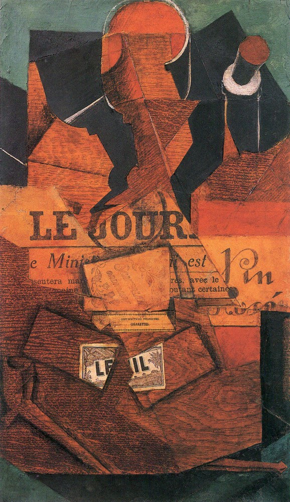 The Museum Outlet - Tobacco, newspaper and wine bottle by Juan Gris