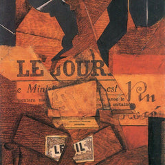 100% Hand Painted Oil on Canvas - Tobacco, newspaper and wine bottle by Juan Gris