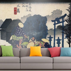 Roshni Arts - Curated Art Wall Mural - Travellers passing a shrine by Hiroshige | Self-Adhesive Vinyl Furnishings Decor Wall Art