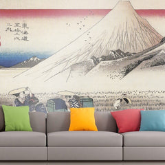 Roshni Arts - Curated Art Wall Mural - Travellers passing mount Fuji by Hiroshige | Self-Adhesive Vinyl Furnishings Decor Wall Art