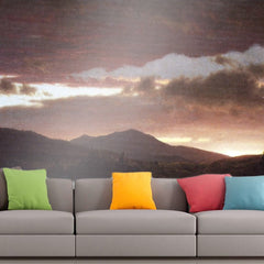 Roshni Arts - Curated Art Wall Mural - Twilight (Catskill Mountain) by Frederick Edwin Church | Self-Adhesive Vinyl Furnishings Decor Wall Art