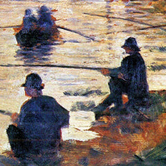 100% Hand Painted Oil on Canvas - Two Fishermen by Seurat