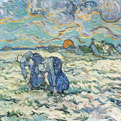 100% Hand Painted Oil on Canvas - Two digging a grave in the snow by Van Gogh