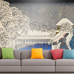 Roshni Arts - Curated Art Wall Mural - Two ladies conversing in the snow by Hiroshige | Self-Adhesive Vinyl Furnishings Decor Wall Art