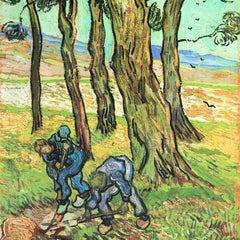 100% Hand Painted Oil on Canvas - Two men in digging out a tree stump by Van Gogh