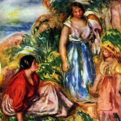 100% Hand Painted Oil on Canvas - Two women with young girls in a landscape by Renoir