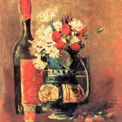 100% Hand Painted Oil on Canvas - Vase of white carnations and rose and bottle by Van Gogh