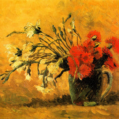 100% Hand Painted Oil on Canvas - Vase with Carnations by Van Gogh