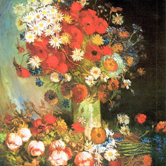 100% Hand Painted Oil on Canvas - Vase with cornflowers and poppies, peonies and chrysanthemums by Van Gogh