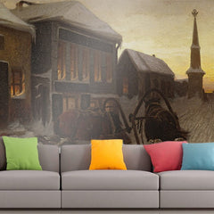 Roshni Arts - Curated Art Wall Mural - Vasily Perov - The Last Tavern at the City Gates | Self-Adhesive Vinyl Furnishings Decor Wall Art
