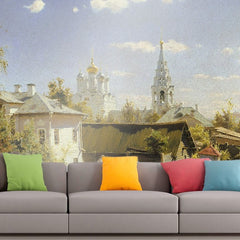 Roshni Arts - Curated Art Wall Mural - Vasily Polenov - Moscow patio | Self-Adhesive Vinyl Furnishings Decor Wall Art