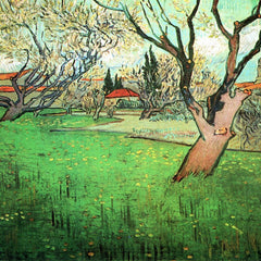 100% Hand Painted Oil on Canvas - View of Arles with flowering tree by Van Gogh
