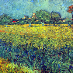 100% Hand Painted Oil on Canvas - View of Arles with irises by Van Gogh