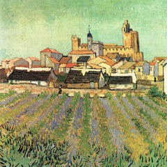 100% Hand Painted Oil on Canvas - View of Sainte Maries by Van Gogh