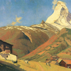 100% Hand Painted Oil on Canvas - View of Zermatt by Felix Vallotton