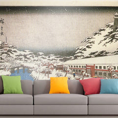 Roshni Arts - Curated Art Wall Mural - View of a canal in the snow by Hiroshige | Self-Adhesive Vinyl Furnishings Decor Wall Art