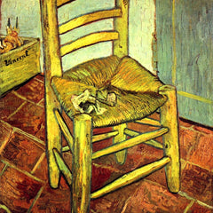100% Hand Painted Oil on Canvas - Vincent's chair with pipe by Van Gogh