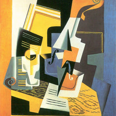 100% Hand Painted Oil on Canvas - Violin and Glass by Juan Gris