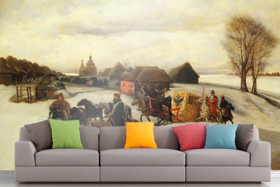 Roshni Arts - Curated Art Wall Mural - Vyacheslav Schvarts - The Spring Pilgrimage of the Tsarina | Self-Adhesive Vinyl Furnishings Decor Wall Art