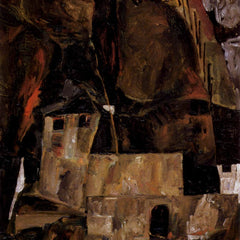 The Museum Outlet - Wall and house and terrain with fence by Schiele