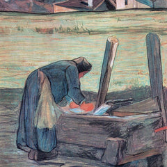 100% Hand Painted Oil on Canvas - Washer by Giovanni Segantini